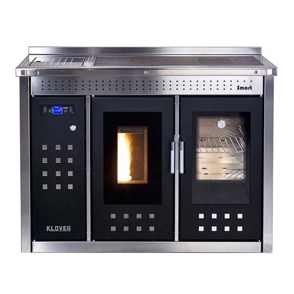 klover-termocucina-a-pellet-riscaldamento-e-acqua-calda-sanitaria-kw-25-smart-inox-sm120-conto-termico-20-nero-lucido-finitura-cromata-frontale
