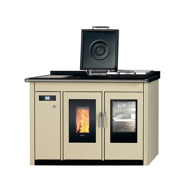 klover-termocucina-pellet-kw-22,6-riscaldamento-acqua-sanitaria-smart-120-bt-colore-crema-laterale