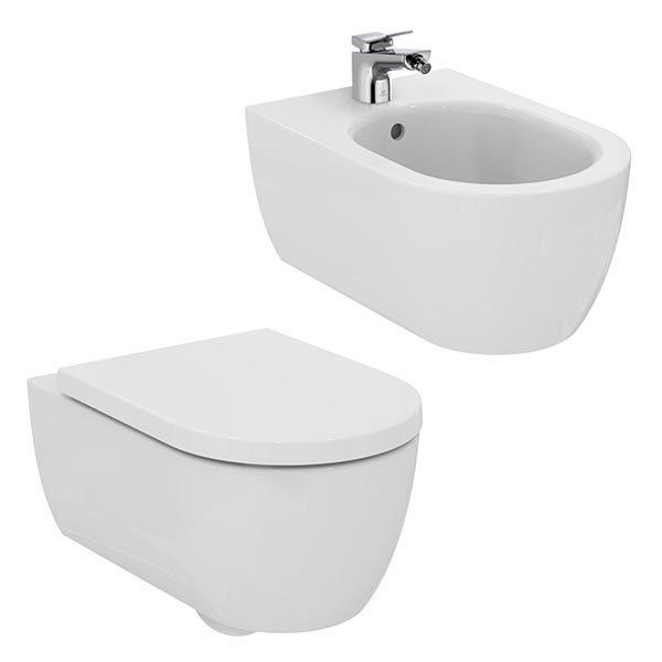 ideal-standard-blend-curve-coppia-sanitari-sospesi-fissaggi-nascosti-vaso-wc-aquablade-+-sedile+-bidet-monoforo